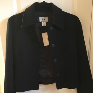 Armani Exchange Black womens wool blazer Sz 4 NWT
